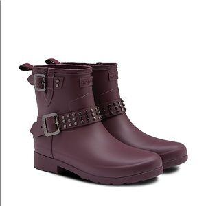 HUNTER Burgundy Moto Style Rubber Rain boots
